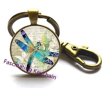 Amazon.com: Vintage libélula vidrio llavero. Libélula ...