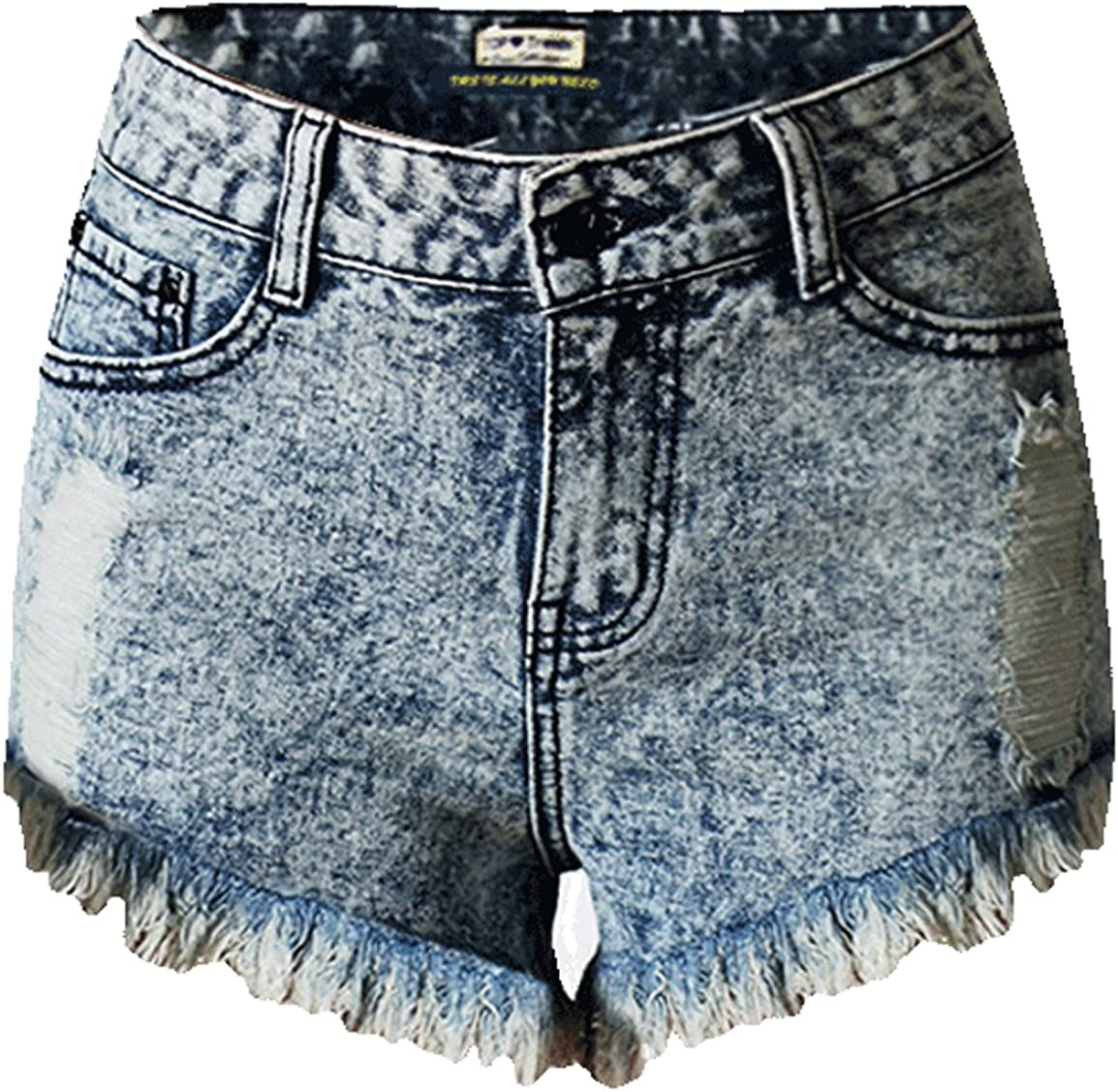 Youhan Womens Ripped Hole Frayed High Waist Denim Hot Pants Shorts