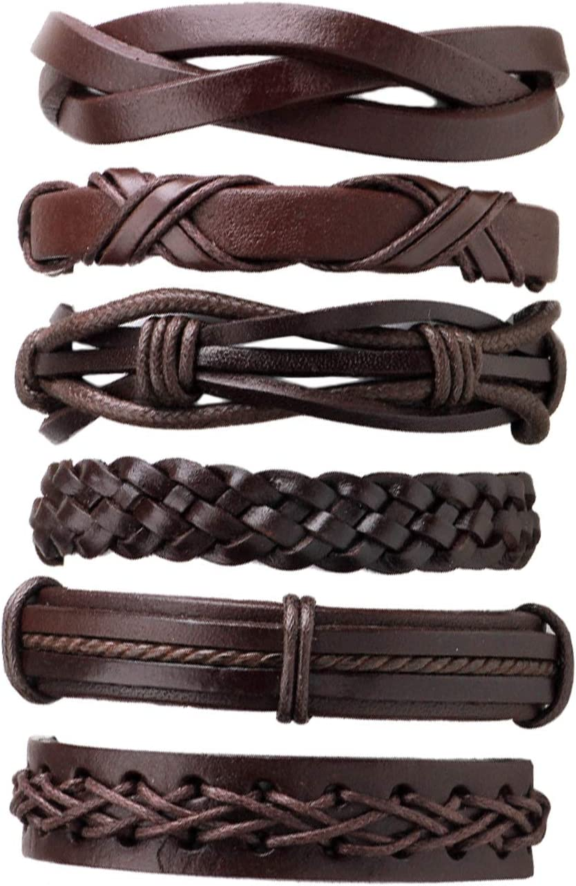 6PCS/SET Multilayer Men Solid Color PU Leather Braided Bracelet Casual Bracelet Bangles Jewelry Best Birthday Gift
