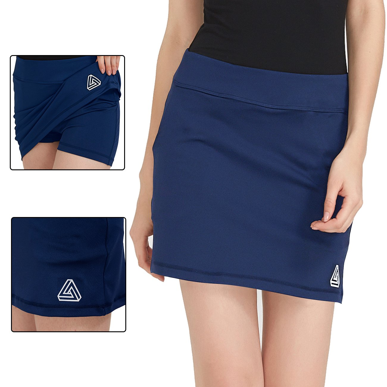 DOMICARE Women Active Athletic Skorts with Pockets - Lightweight Quick Dry Skirt with Short for Workout Sports, M, Navy