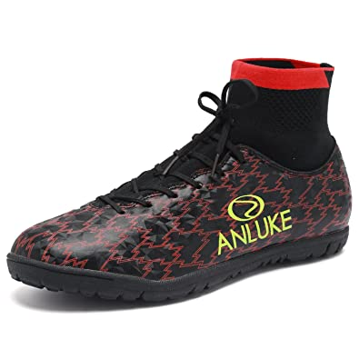 ANLUKE Mens Hightop Training Soccer Shoes TF Football Boots Black 39