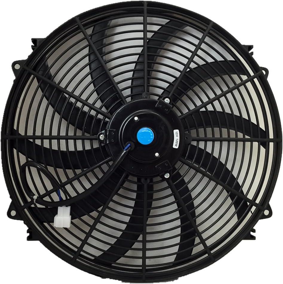 Black 16 inch Universal Electric Radiator Engine Cooling Slim Fan 12V Mount Kit