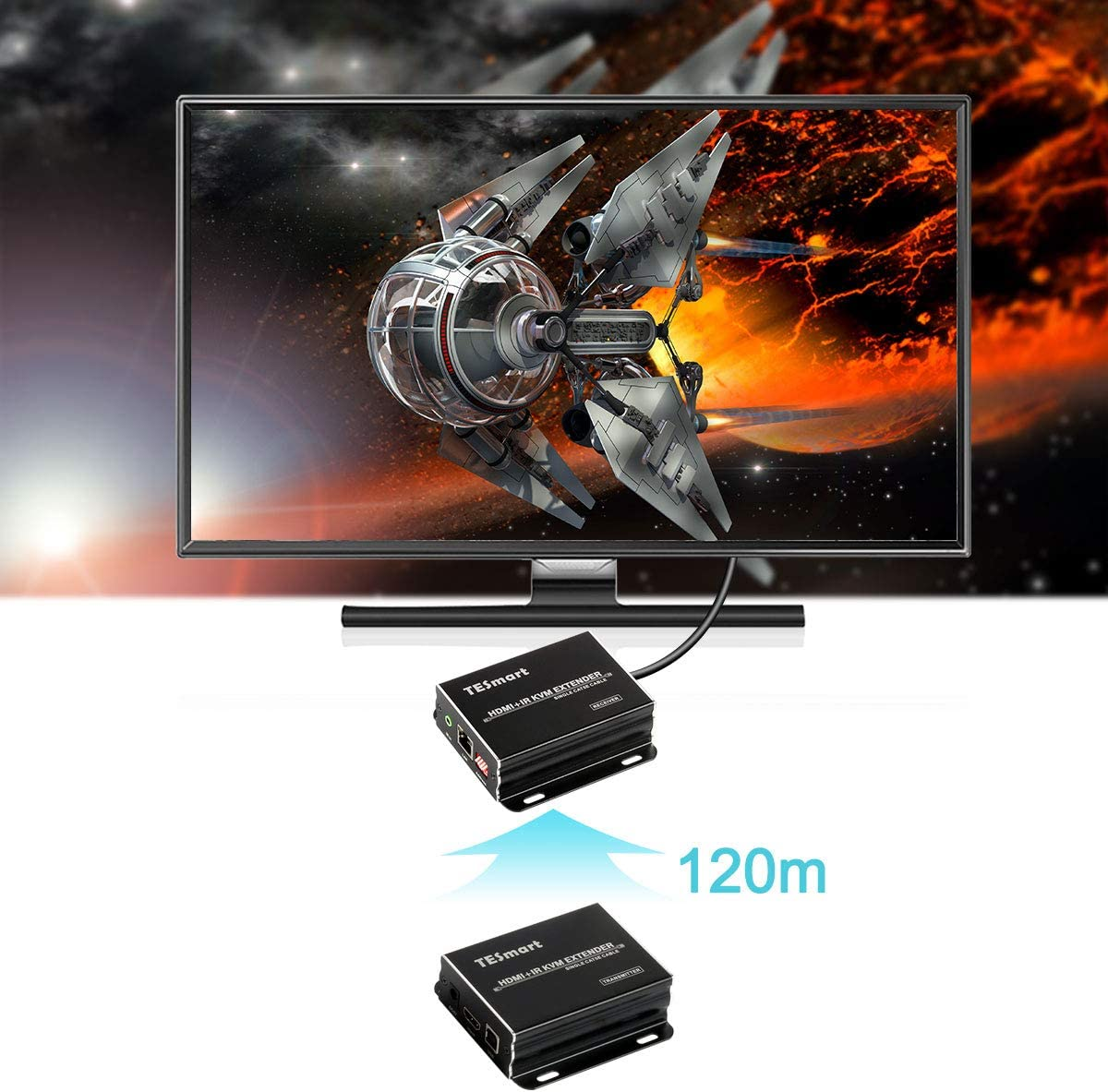 Easy to Set Up and Good Stability 1080P 60Hz Compact and Smart one to Many KVM Extender TESmart HDMI KVM Extender Long Distance 393 feet Over CAT5//6 Cable KVM HDMI Extender