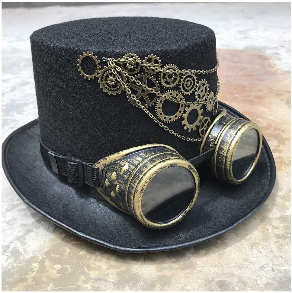 Moda Sombrero de Steampunk Unisex Hombres Mujeres Steampunk Top Hat Hecho a Mano con Gafas de Engranaje Stage Magic Hat Cosplay Hat Size 57CM (Color : Black, Size : 57)