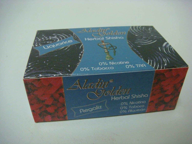 Aladin Golden Shisha (sin nicotina) para Cachimba 10 x 50g Sabor Regaliz-Liquorice ó Variado.