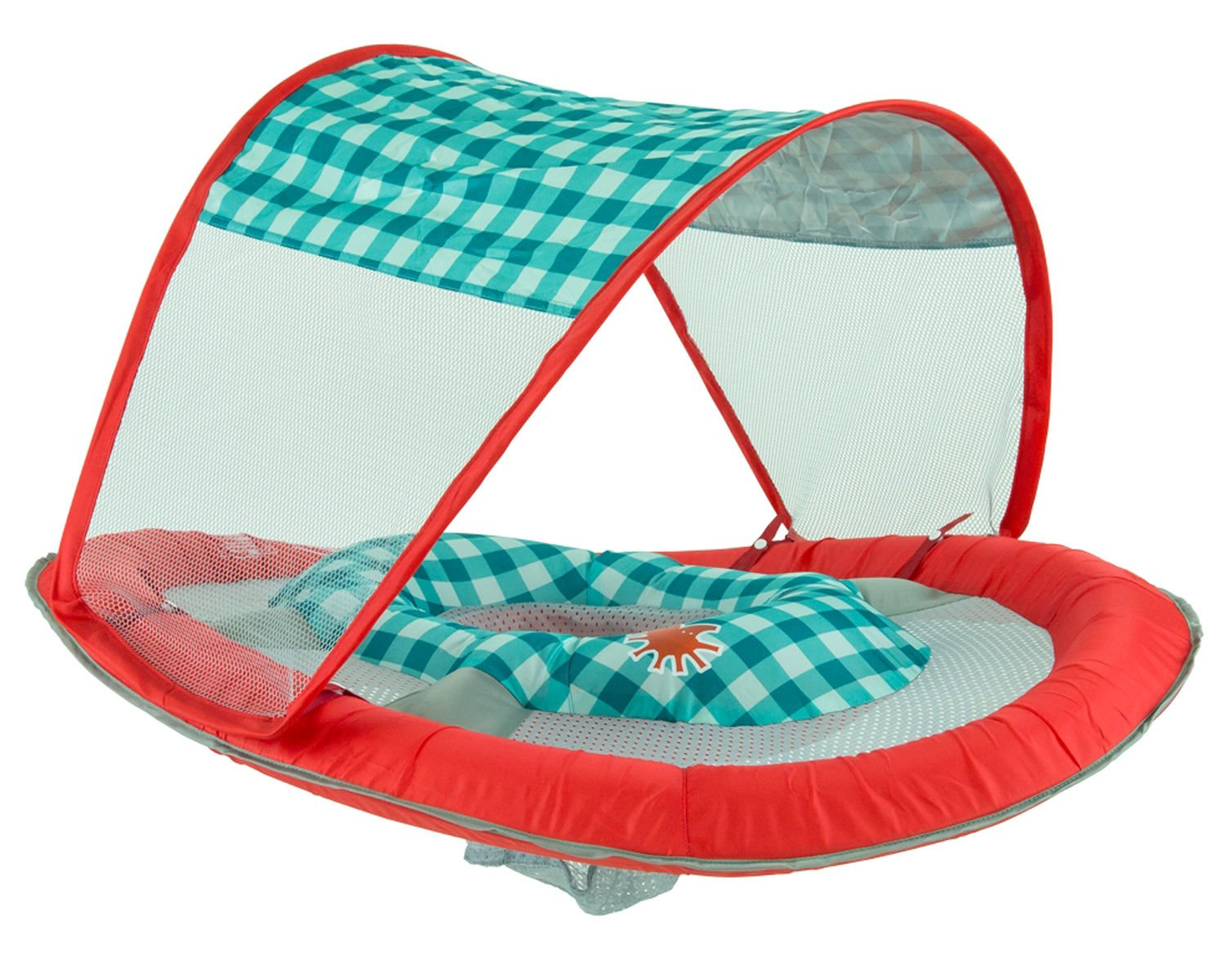 SwimWays Baby Spring Float Sun Canopy Green Fish