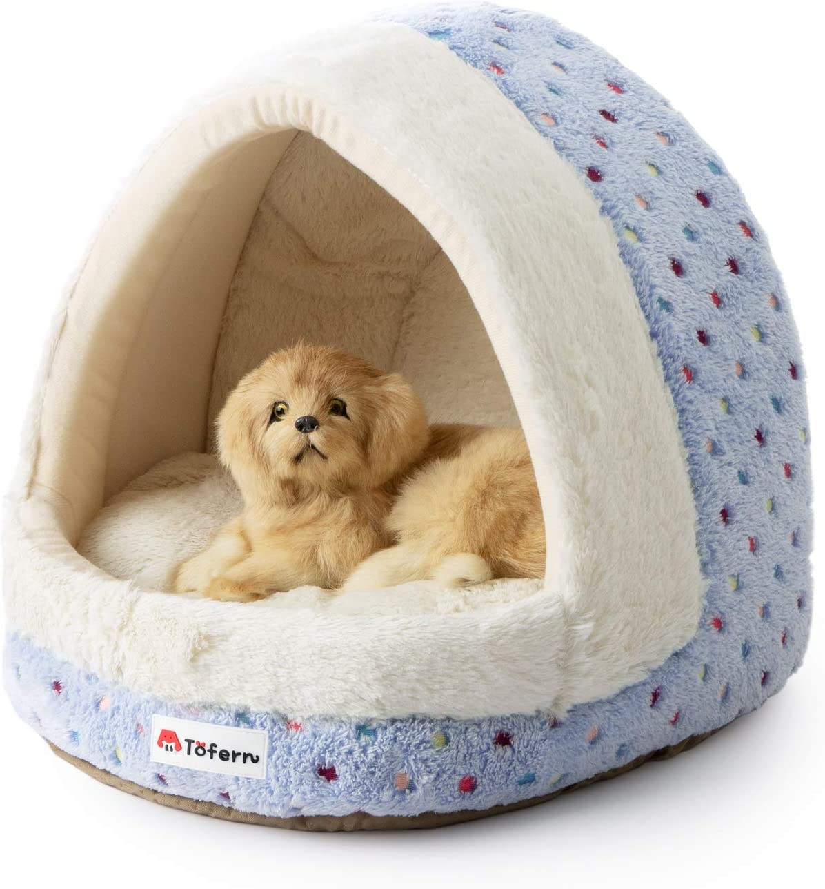 Amazon Com Tofern Colorful Dots Patterns Striped Cute Pet Fleece Bed Puppy Small Medium Dog Cat Sleeping Igloo House Non Slip Warm Washable Pet Supplies