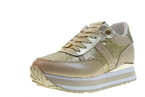 Scarpe sneakers donna con zeppa interna con paillettes