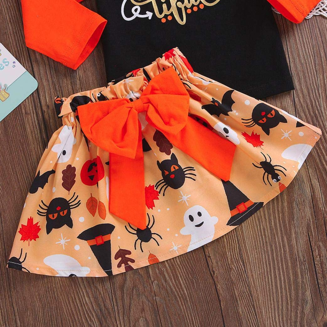 kaiCran Baby Clothes Girl,Toddler Baby Girls Long Sleeve Boo Letter Print Tops and Halloween Cartoon Skirt Outfits Sets