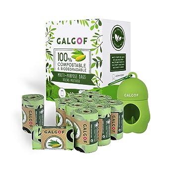 Bolsas de basura higiénicas y biodegradables para caca y heces de perro + Dispensador. 10 Rollos perfumados, compostables y ecológicos para residuos y ...