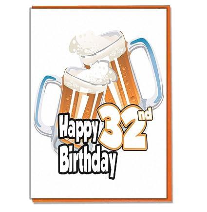 Tarjeta de cumpleaños número 32 - cerveza pinta - hombre ...