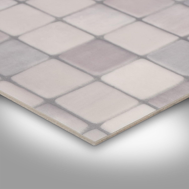 verschiedene Gr/ö/ßen Fliesenoptik Mosaik grau Gr/ö/ße: 3,5 x 4 m 300 und 400 cm Breite PVC Bodenbelag Steinoptik 200 Meterware