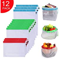 12 Pack Hiquaty Premium Reusable Produce Mesh Bags Washable Eco Friendly Grocery Bags with Drawstring For Shopping Storage, Fruit, Vegetable, and Toys