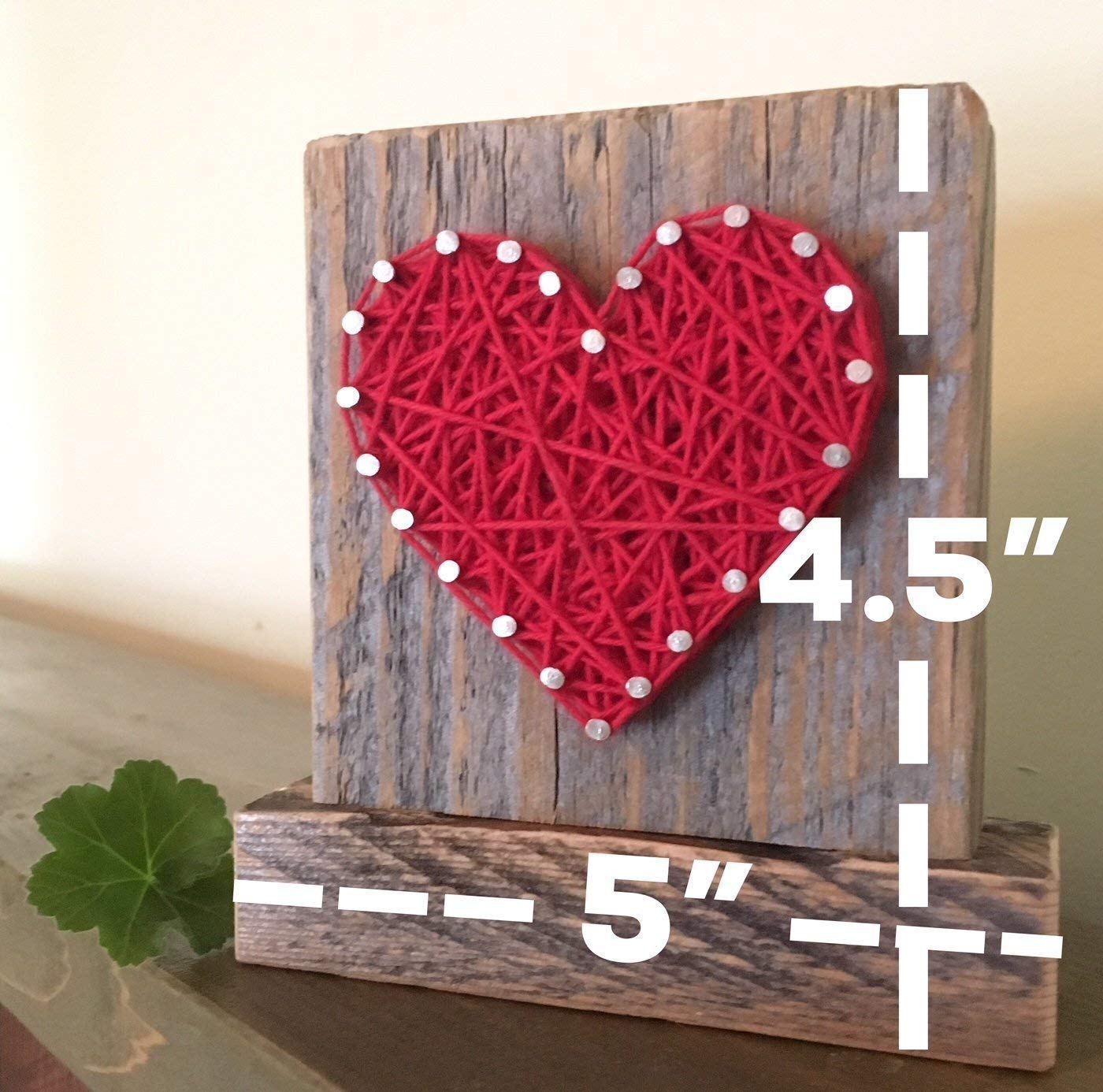 Sweet & small freestanding wooden red string art heart block sign. Perfect for home accents, Wedding favors, Anniversaries, housewarming, teacher, congratulations & just because. by Nail it Art by Nail it Art (Image #2)