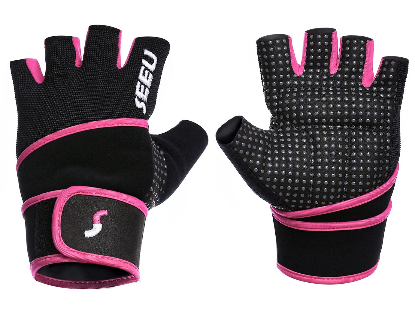 SEEU Womens Wod Gloves with 17.5'' Wrist Wrap Support, Pink S