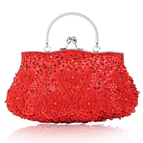 3fa3650b1076 Vistatroy Vintage Style Beaded And Glass Beads Evening Bag Wedding Party  Handbag Clutch Purse for Women Female Formal Evening (Red)