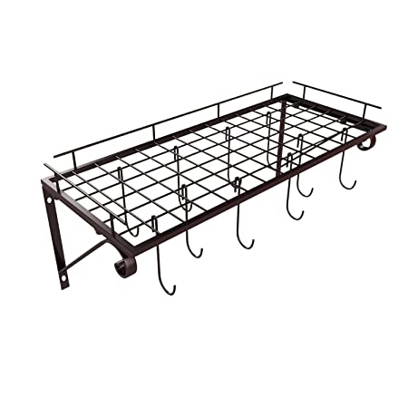 Amazon.com: Wall Kitchen Rack, Wall Mounted Pot Pan Rack with 10 Hooks, Pot Holder Kitchen Storage Cabinets Shelves for Home: Kitchen & Dining