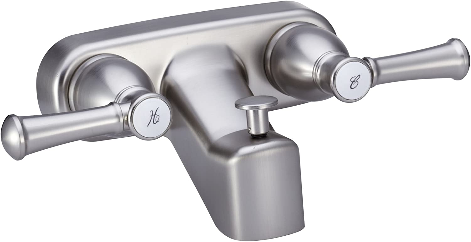 Dura Faucet DF-SA110L-SN RV Tub & Shower Faucet Valve Diverter with Hot/Cold Handles (Brushed Satin Nickel)