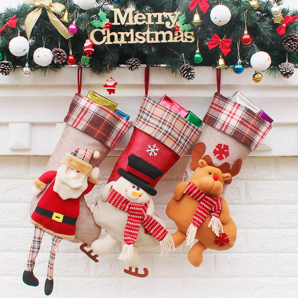 Versione 1 suroper Calze di Natale Large Taglia 3 PCS Calzini Appesi con Babbo Natale Pupazzo di Neve e Renne Ripieni Regalo Caramelle per Festa Decorazione