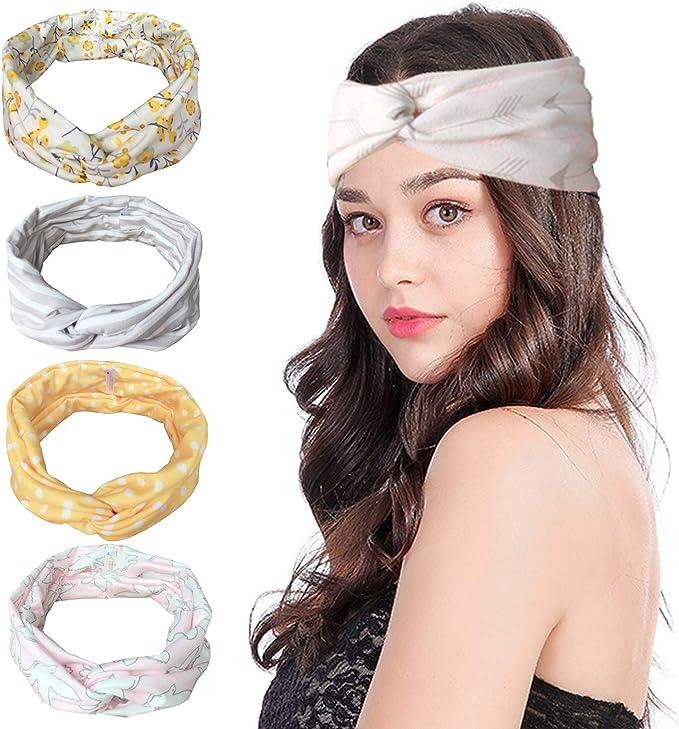Vellette Cinta de cabeza Turbantes Mujer Venda De Pelo El/ástica Cinta Para El Pelo Accesorio Para Cabeza 4Pcs