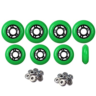 Player's Choice Outdoor Inline Skate Wheels 76mm/80mm Grn Hilo Roller Hockey ABEC 5 Bearings : Sports & Outdoors