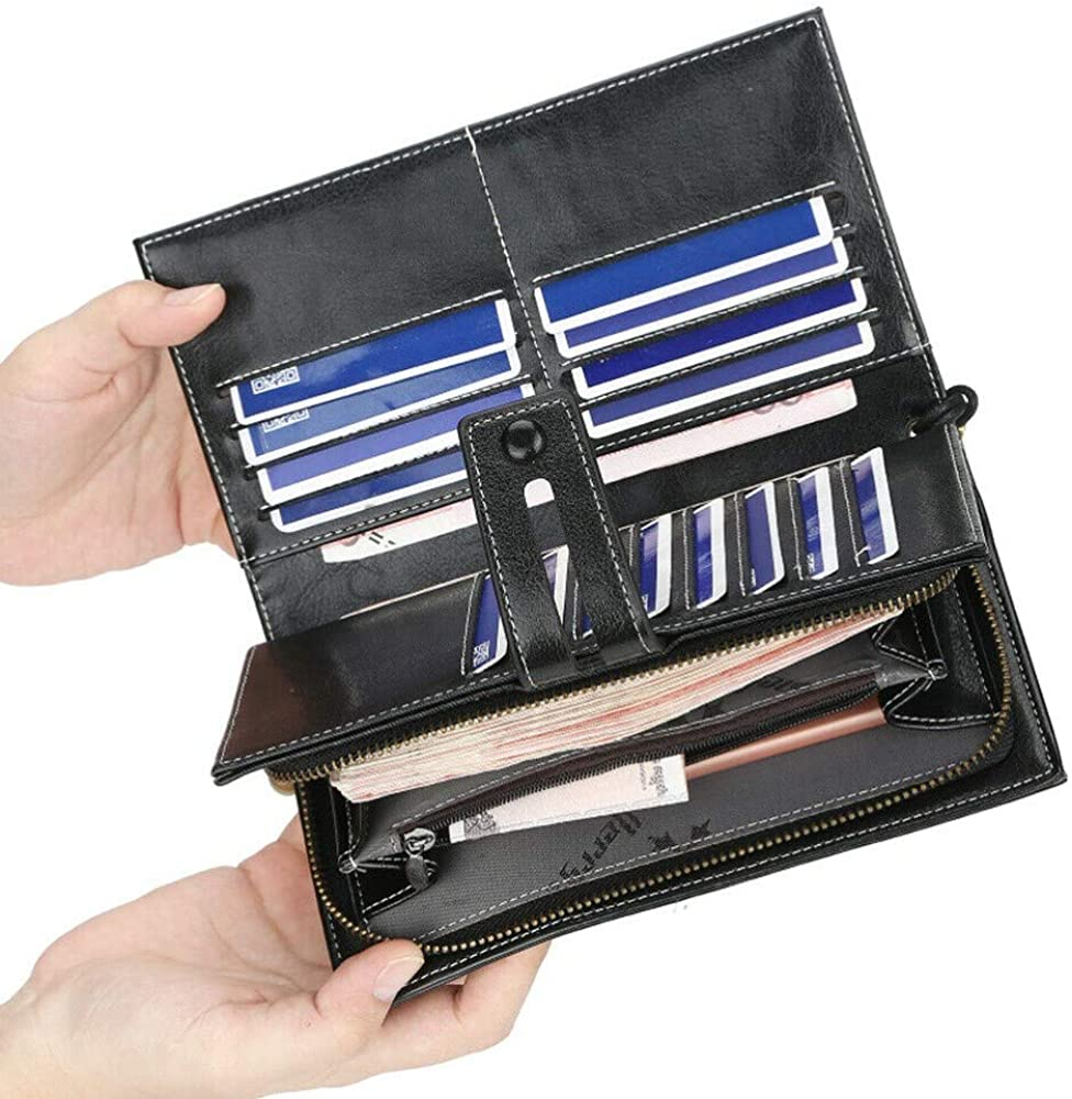 Black #ASNH 1 Pcs Large Capacity Womens Leather Wallet Clutch Organizer