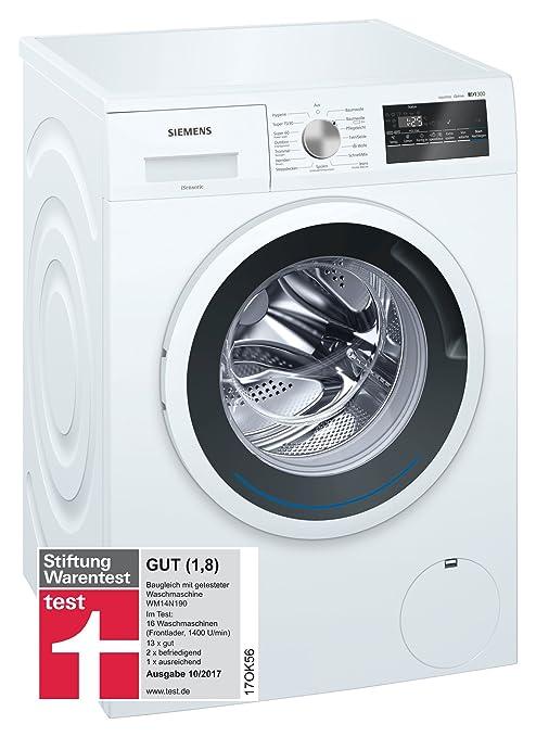 Siemens iQ300 WM14N140 Waschmaschine / 6,00 kg / A+++ / 137 kWh / 1.400 U/min / Schnellwaschprogramm / Nachlegefunktion / aqu