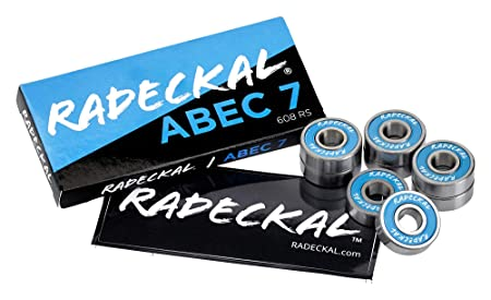 RADECKAL Blue ABEC 7 Skateboard Bearings, Skateboards, Longboards, Cruisers, Inline Skates, Rollerblades, Roller Skates, Pre-Lubricated, High Precision Rating, Long Lasting (1 Set of 8)