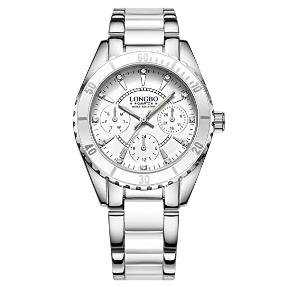 LONGBO Unique Womens Stainless Steel & White Ceramic Band Analog Quartz Watch Decorative Chrono Eyes Ladies