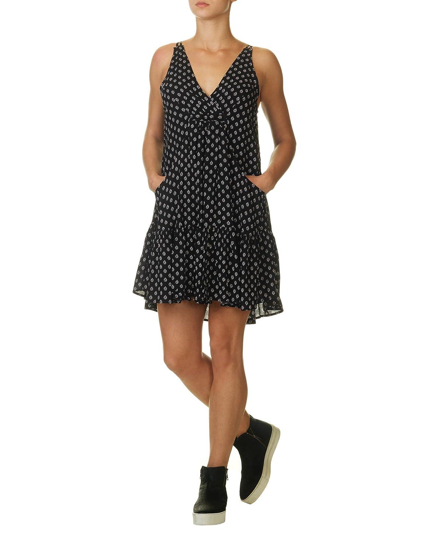 Ppla Women's Barcelona Women's Black Ruffled Dress With Print