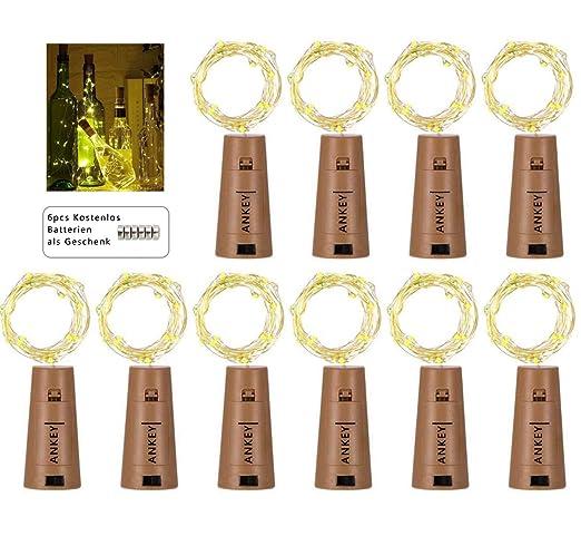 10 pieza 20 LED Luz botella Cadenas Luz Blanca Cálida 78 en Blanco Cálido LED botellas
