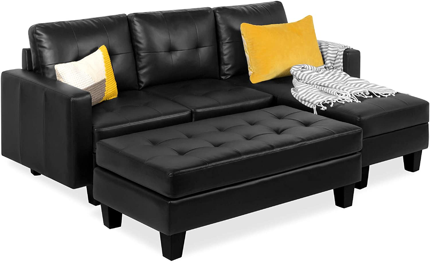 Amazon Com Best Choice Products Tufted Faux Leather 3 Seat L Shape Sectional Sofa Couch Set W Chaise Lounge Ottoman Coffee Table Bench Black Furniture Decor