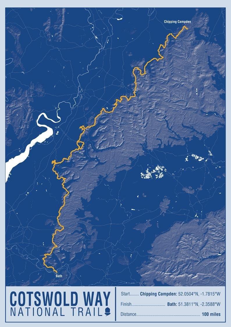 16.75 x 23.5 Matte Plastic Cotswold Way National Trail Map Print