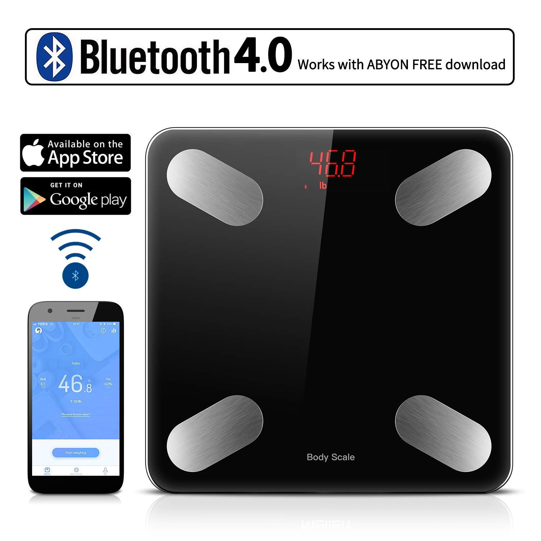 sunvito Escala Inteligente de Las Grasas de Cuerpo de Bluetooth APLICACI/ÓN de la Escala de Peso del ba/ño Digital para controlar analizador Corporal con aplicaci/ón de tel/éfono Inteligente