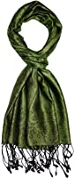 LORENZO CANA - Luxus Herren Seidenschal Schal 100% Seide jacquard gewebt Ton in Ton 35 x 160 cm Paisley Seidentuch Seidenpashmina Grün 7841211
