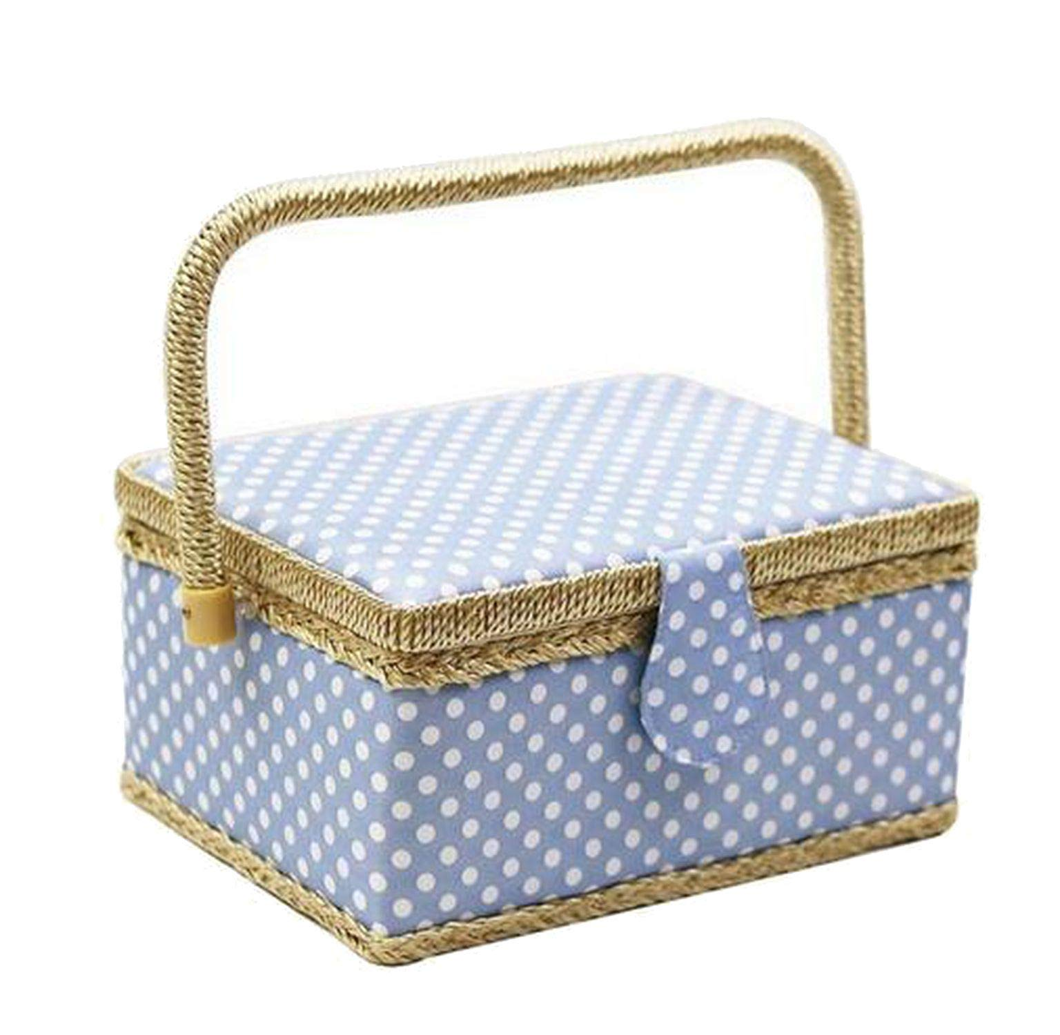Handmade Sewing Basket with Sewing Kit Accessories Fabric Crafts Sewing Tools Storage Box Children's Gift,Blue by ONLY-FOR-ME-1