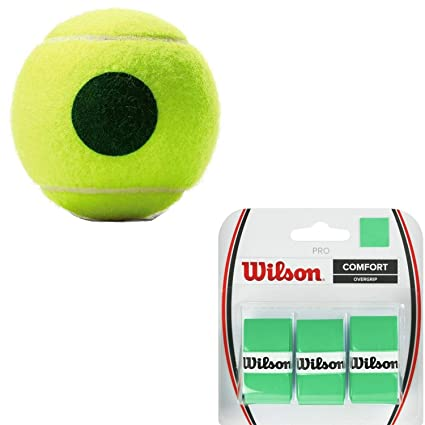 Wilson US Open Green Dot Tennis Balls (25% Lower Compression Than Standard) - (1) Can of 3 - Starter Kit or Set Bundled with (1) 3-Pack of Wilson Pro ...