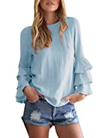 StyleDome Donna Camicetta Blusa Maglia Maglietta Manica Lunga Elegante Moda Sexy Ufficio