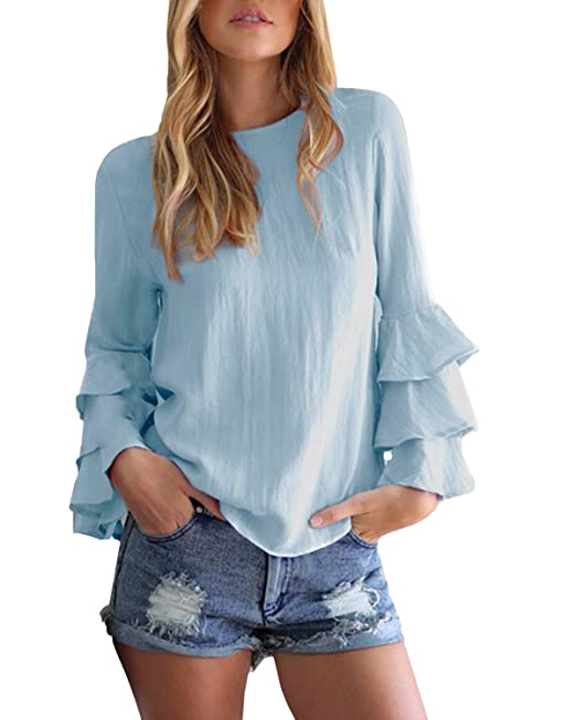dd6f9313f80 StyleDome Mujer Camiseta Mangas Largas Volantes Lunares Blusa Elegante  Noche Casual Oficina: Amazon.es: Ropa y accesorios