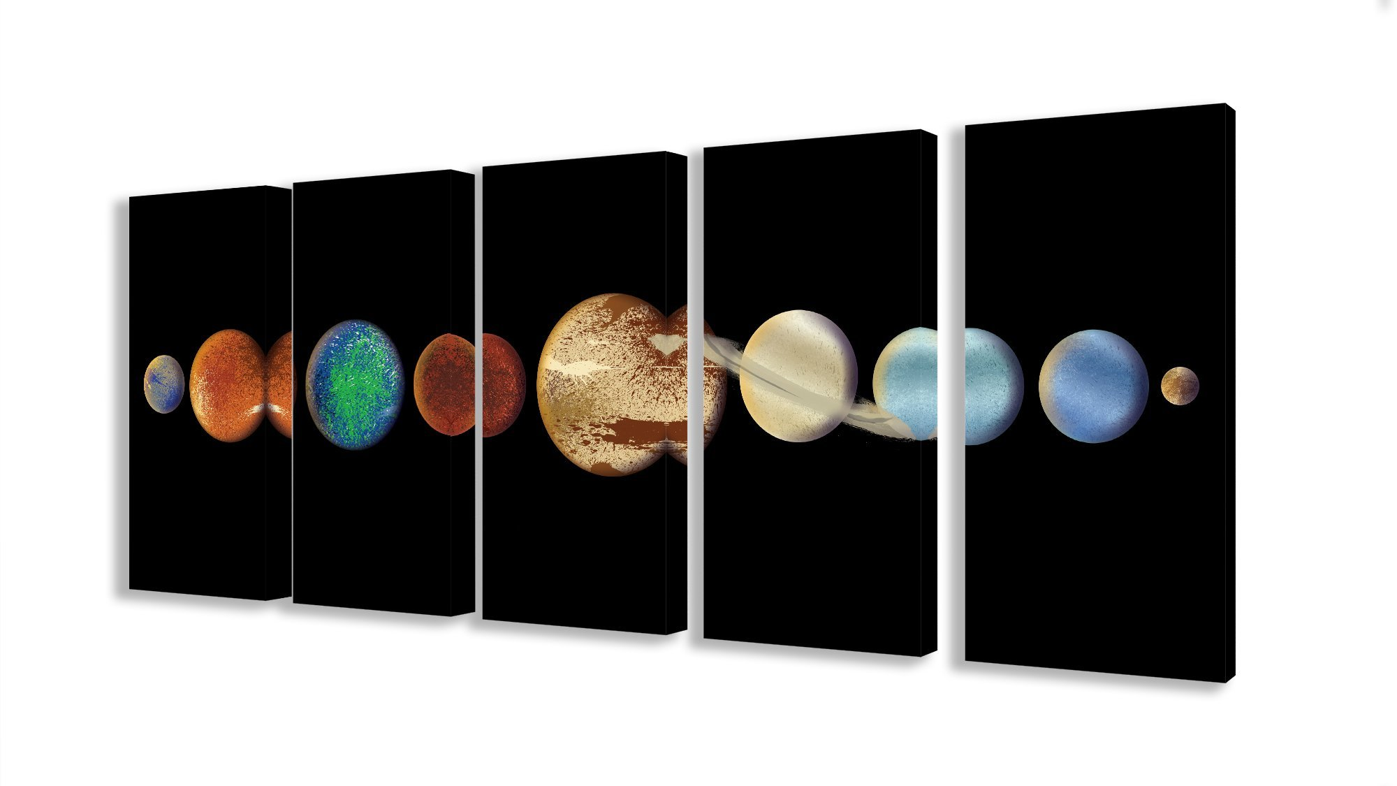 Stupell Home Décor Planet in the Dark Solar System 5pc Stretched Canvas Wall Art Set, 10 x 1.5 x 21, Proudly Made in USA