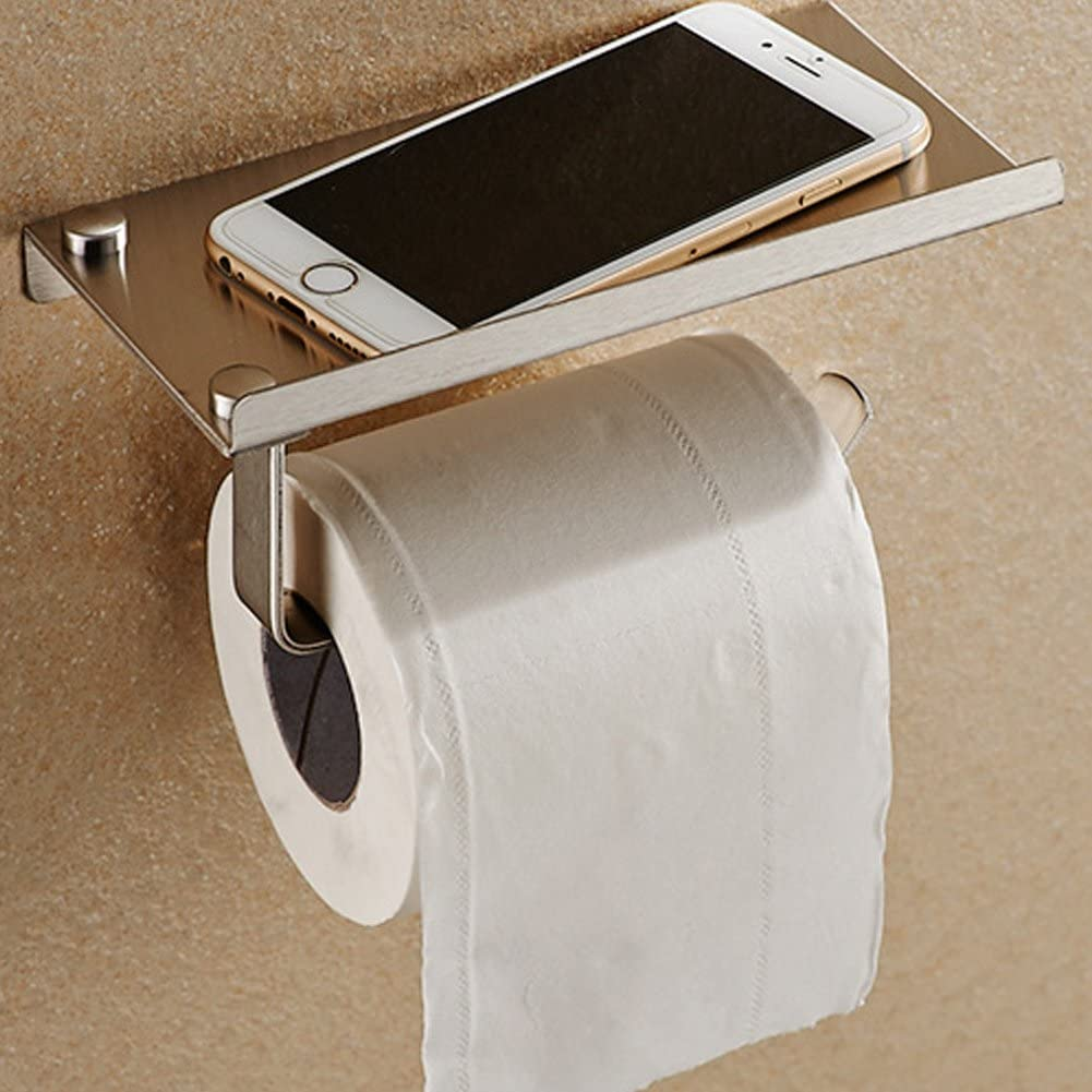 Aluminum Wall Mounted Bathroom Toilet Paper Phone Holder Rack Tissue Roll Stand