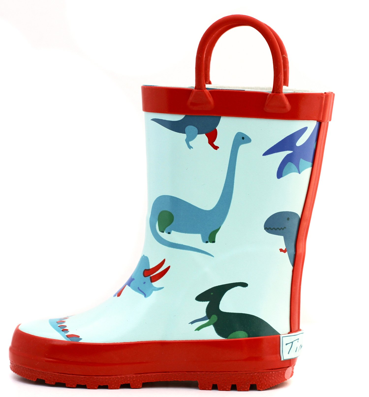 Red Dinosaurs Rubber Rain Boots Size 7