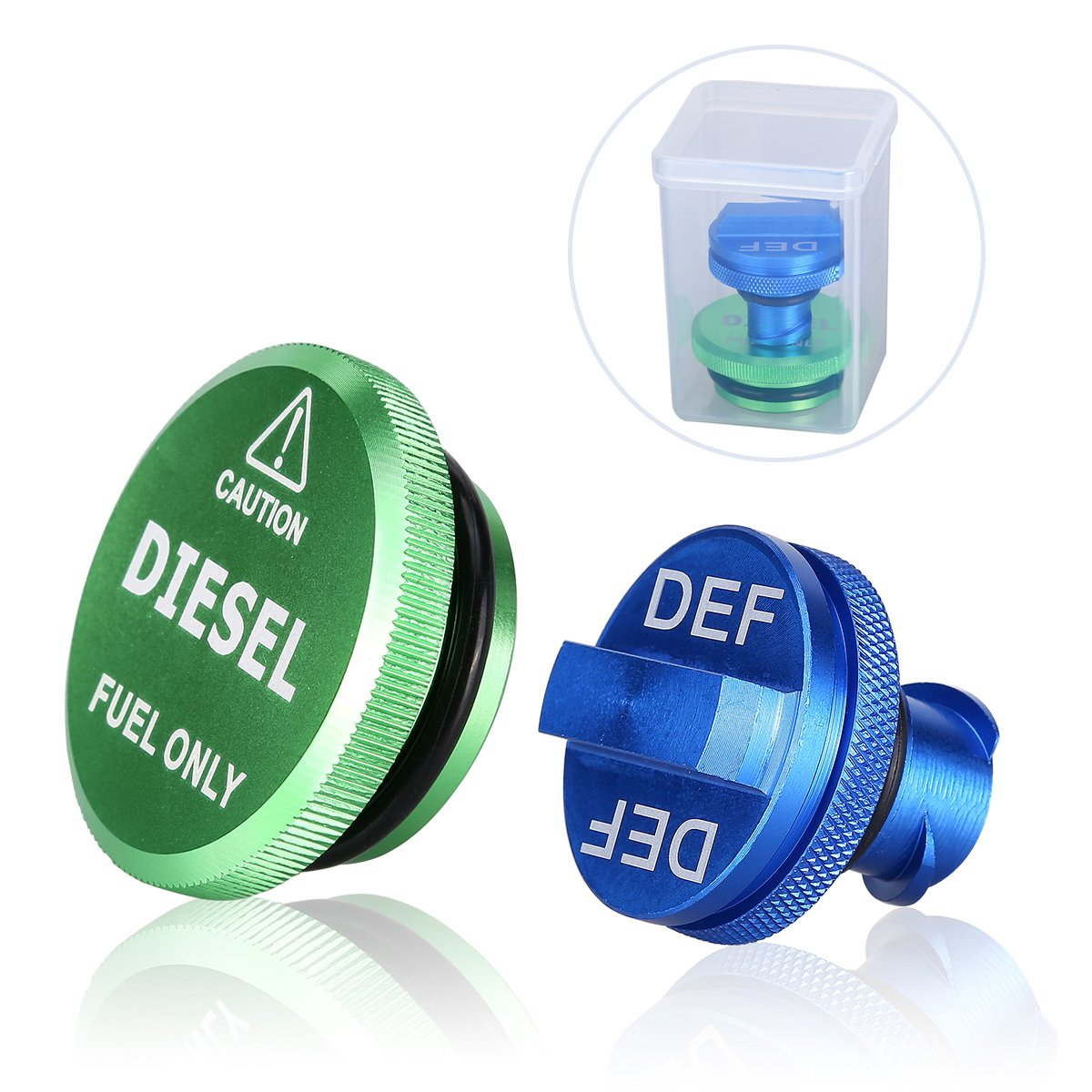 Magnetic Green Diesel Fuel Cap and Blue RAM DEF Cap for 2013-2017 Dodge Ram Diesel Trucks 1500 2500 3500 Fuel Tank Caps DEF Caps Packs by WEITRON
