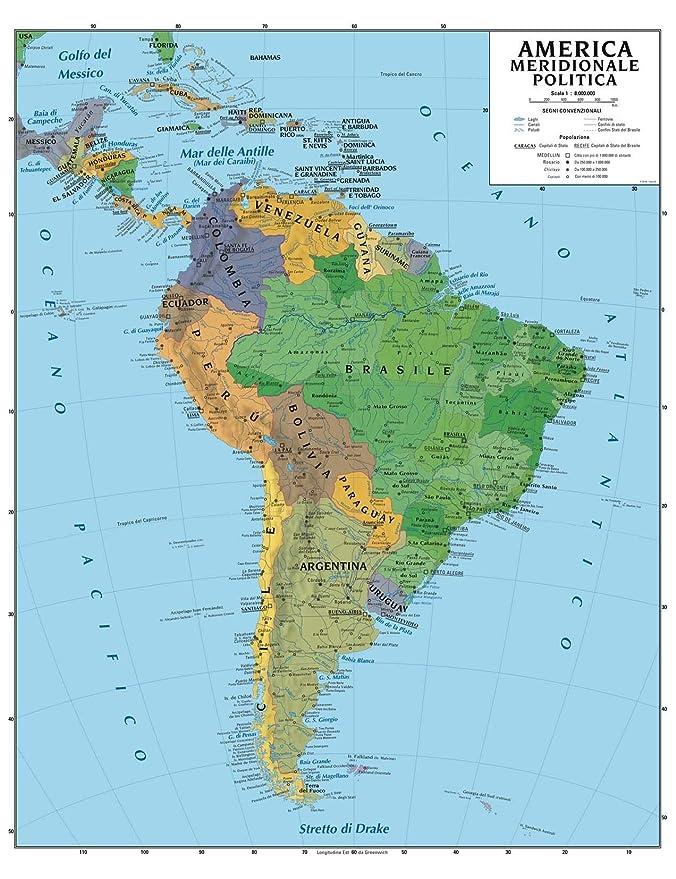 Italia Del Sud Cartina Geografica.Carta Geografica Murale America Meridionale 100x140