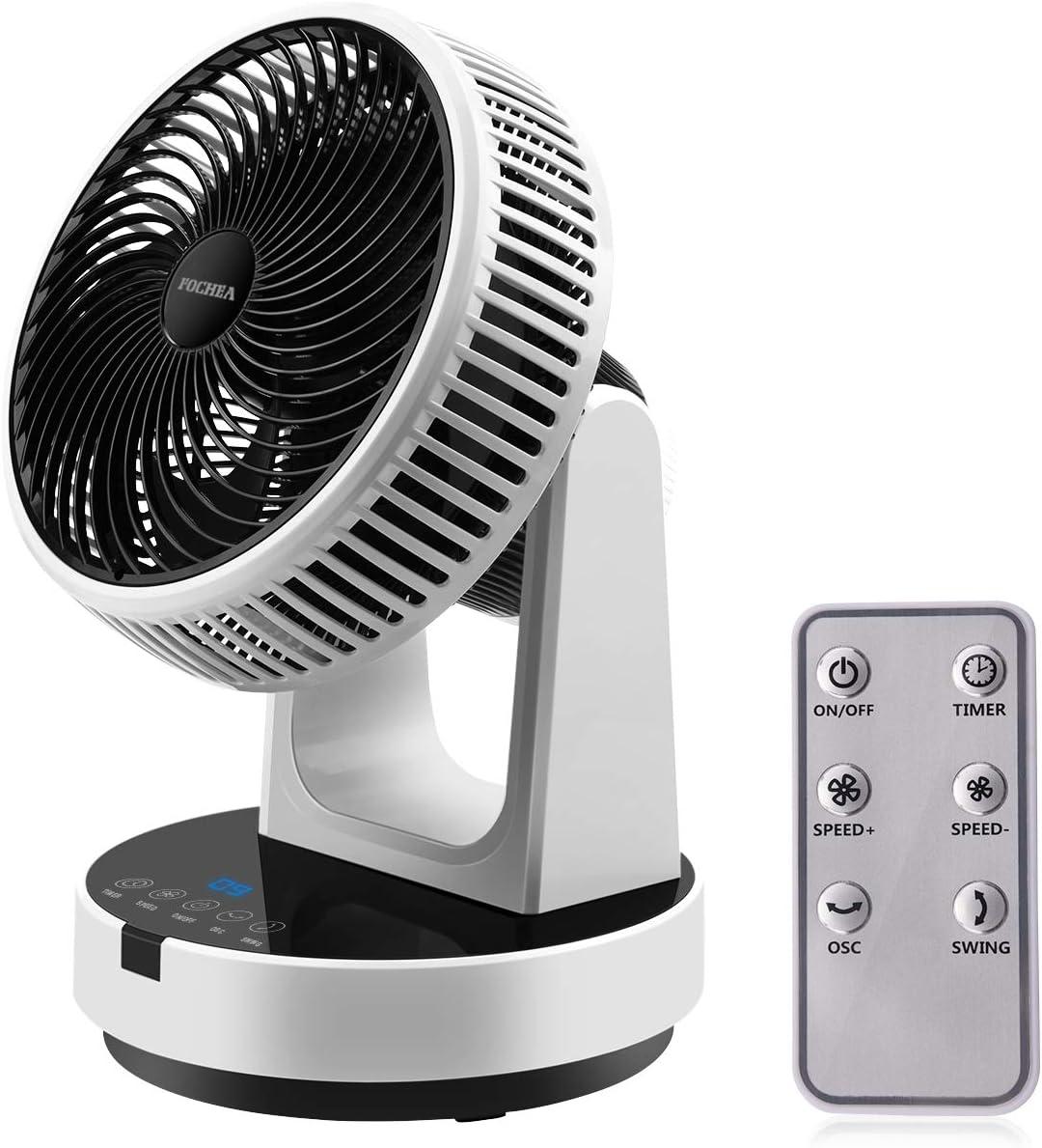 FOCHEA - Ventilador de mesa turbo potente con mando a distancia, 12 niveles ajustables, oscilante horizontal vertical
