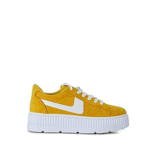 Zapatillas Mujer Sneakers con Plataforma de Color Mostaza(40 EU)