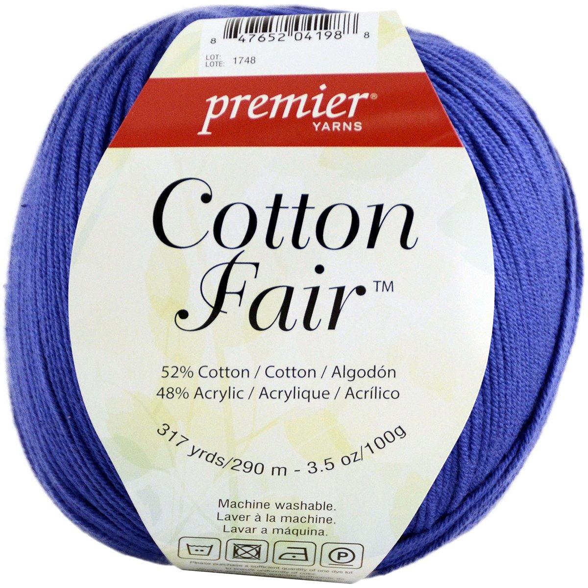 Premier Yarns Cotton Fair Solid Yarn, Blue Iris 27-18