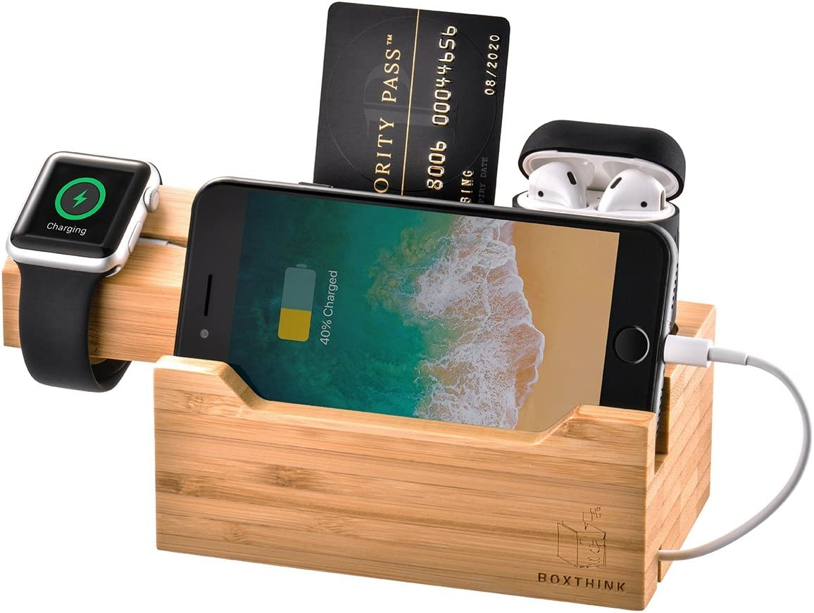 ZeroElec Charging Dock AirPods Apple Watch Charger Stand Bamboo Wood Charging Station Desk Organization Compatible with AirPods/Apple Watch Series3/2/1/iPhone