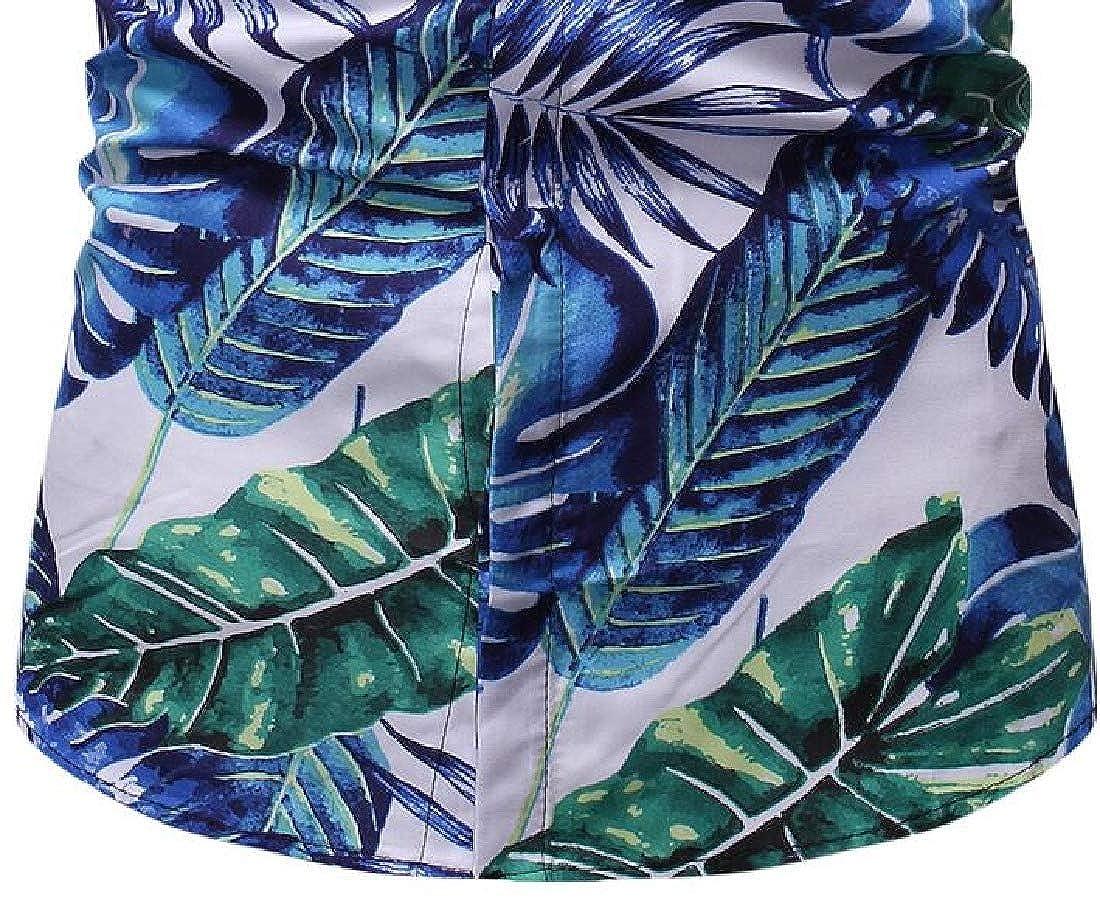Zantt Mens Summer Beach Button Up Regular Fit Short Sleeve Print Shirts
