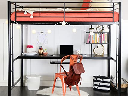 Amazoncom We Furniture Full Metal Loft Bed With Workstation